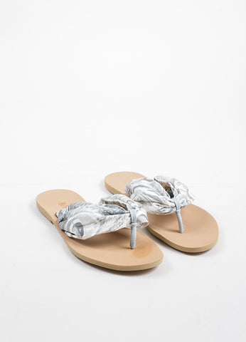Balmain Grey and White Abstract Printed Leather Thong Strap Flat Sandals Frontview