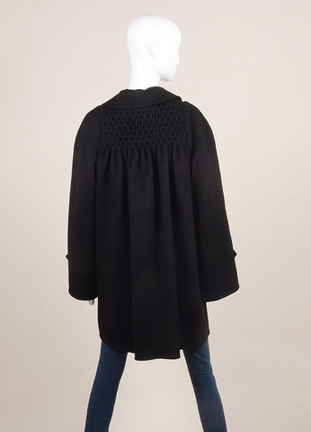 Bill Blass Black Wide Sleeve Woven Yoke Buttoned Coat SZ 14 Backview