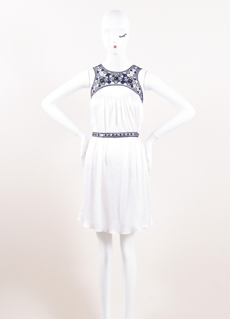 Carolina Herrera White and Navy Blue Embroidered Belted Sleeveless Dress Frontview