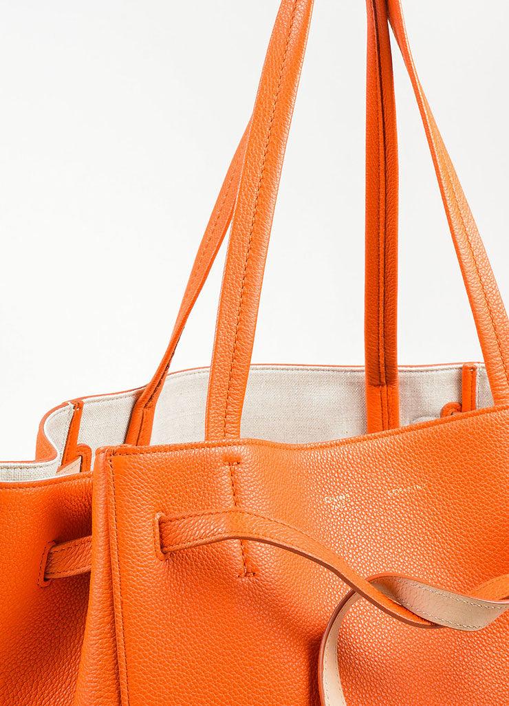 "Celine Orange Pebbled Leather Small ""Phantom Cabas"" Tie Tote Bag Detail 3"