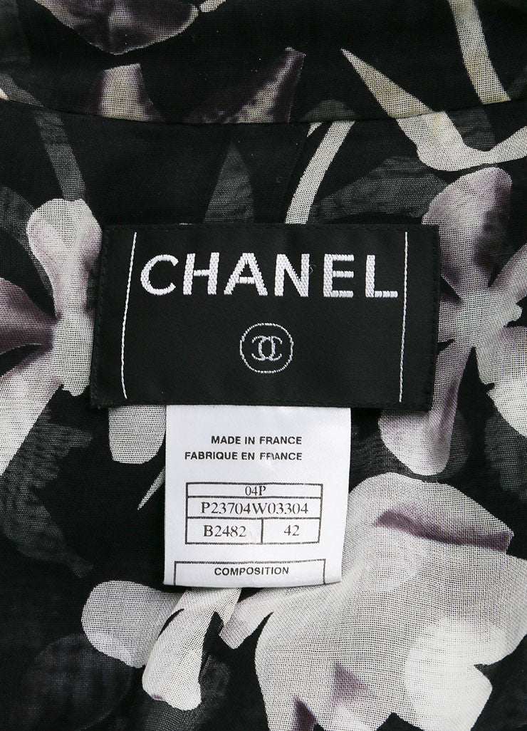 "Chanel Black and White Cotton, Silk, and Wool Tweed ""CC"" Button Jacket Brand"