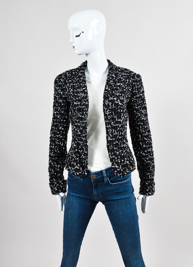 Black and Multicolor Chanel Wool Tweed Tie Embellished Jacket Frontview