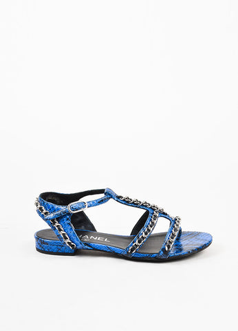 Chanel Blue and Black Python Leather Silver Toned Chain Link Sandal Sideview