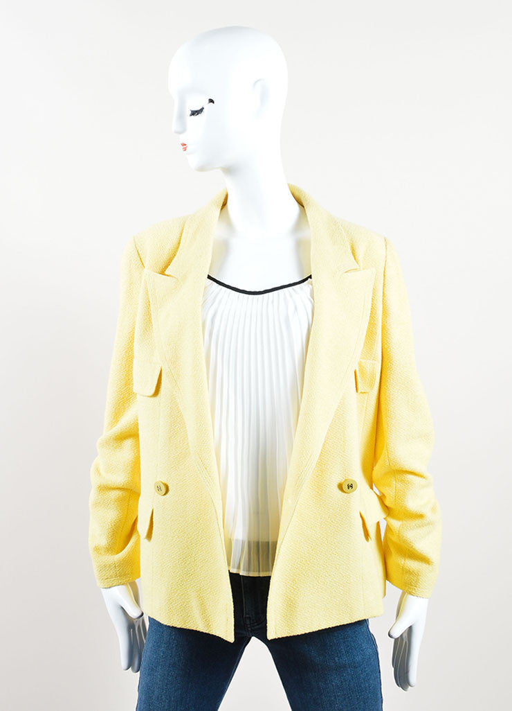 "Chanel Yellow Wool and Cotton ""CC"" Double Breasted Blazer Frontview"