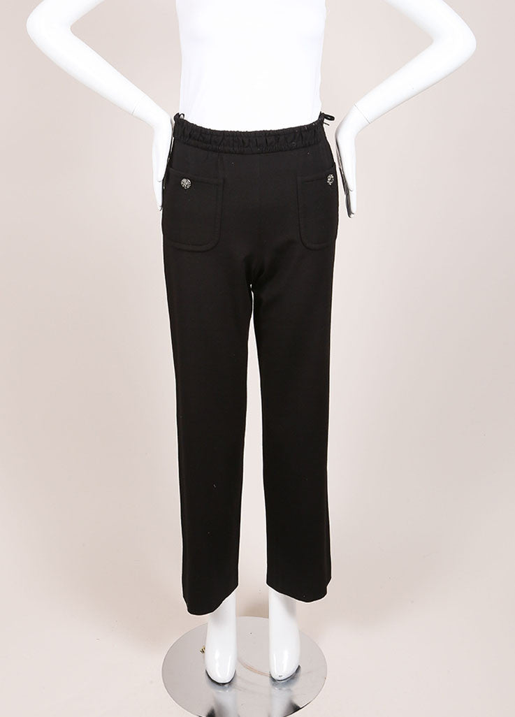 Chanel Black Wide Leg Gripoix Embellished Stretch Pants Frontview