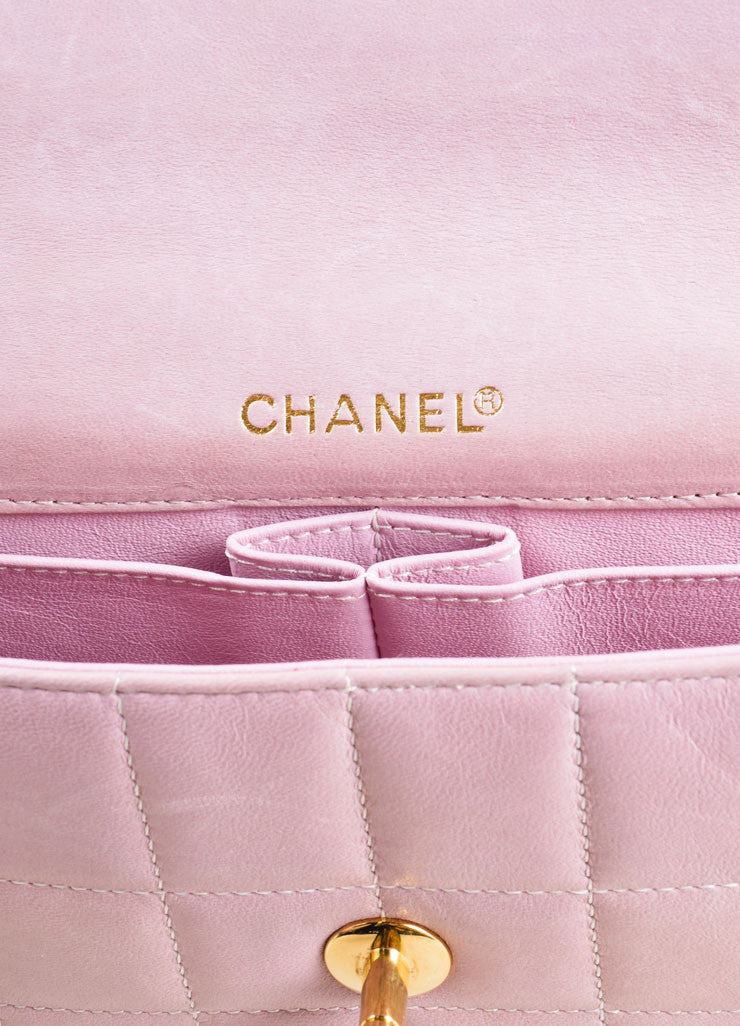 "Chanel Pink Square Quilted Leather ""Chocolate Bar"" Shoulder Flap Bag Brand"