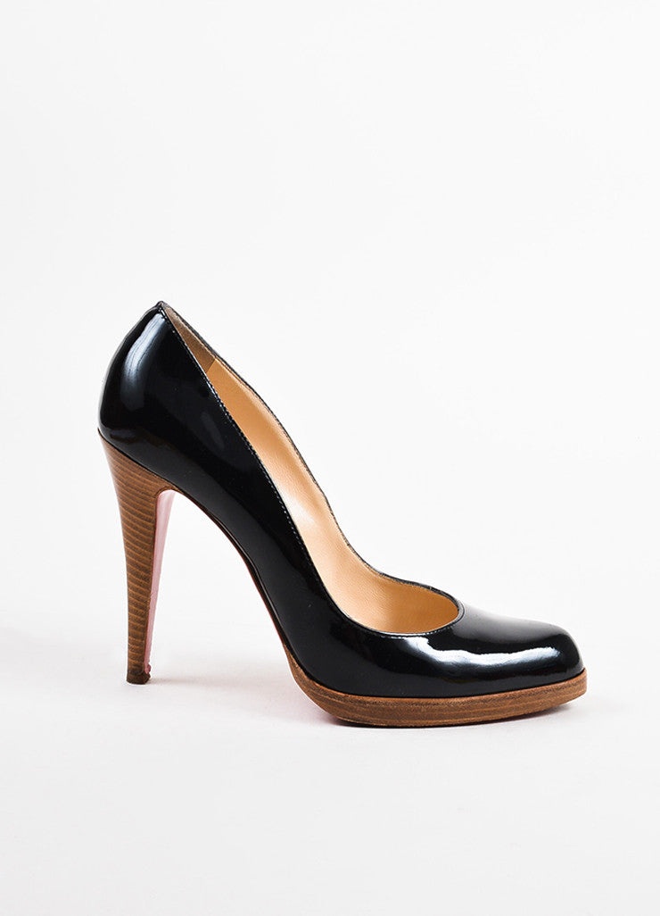 "Christian Louboutin Black Patent Leather ""Decollete 868 Zeppa"" Pumps Sideview"