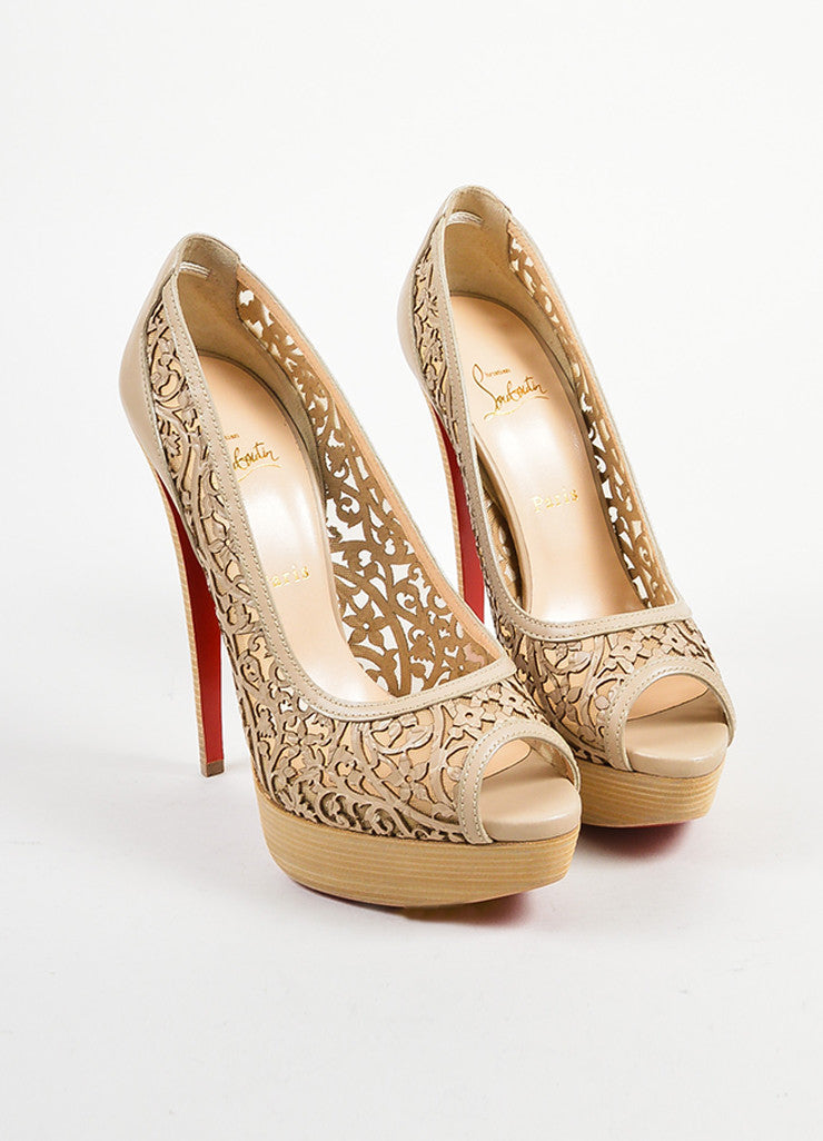 "Christian Louboutin Beige Leather ""Pampas Pump 150"" Laser Cut Pumps Frontview"
