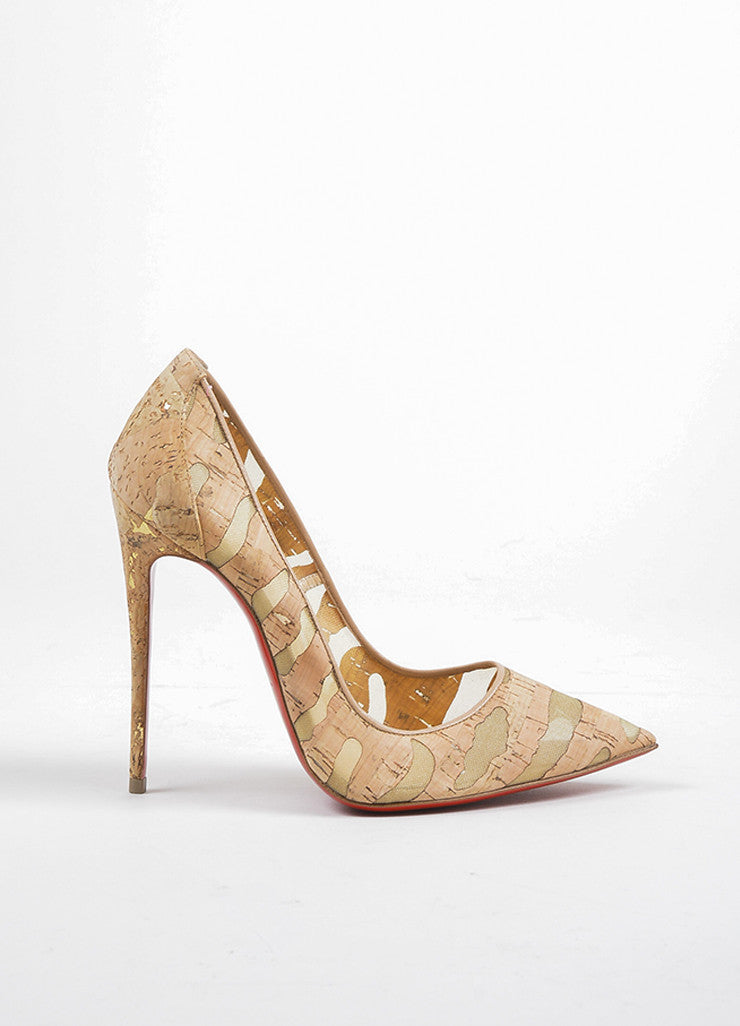 "Christian Louboutin Tan Cork ""So Kate 120"" Pointed Toe Pumps Sideview"