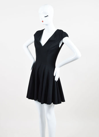 Black Cushnie Et Ochs Jersey Sleeveless Pleated Skater Dress Front