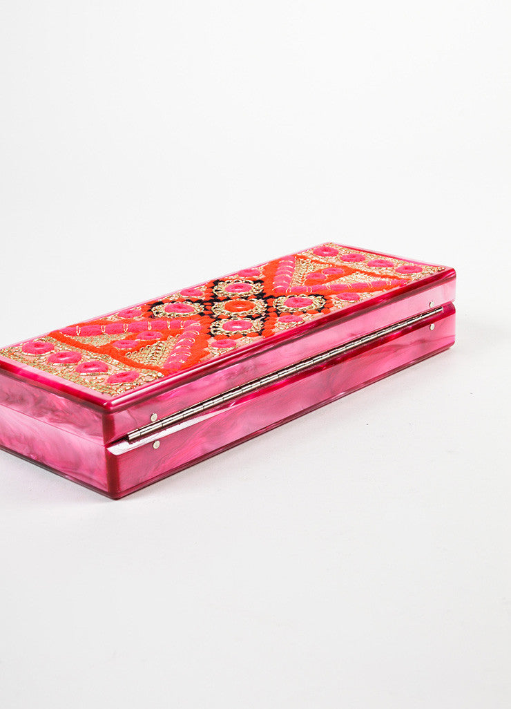 Edie Parker Pink, Gold, and Red Acrylic Embroidered Marble Mirrored Box Clutch Bag Bottom View