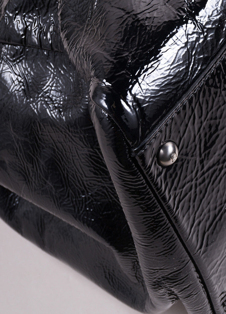 "Fendi Black Patent Leather Wrinkled ""Peekaboo"" Satchel Bag Detail"