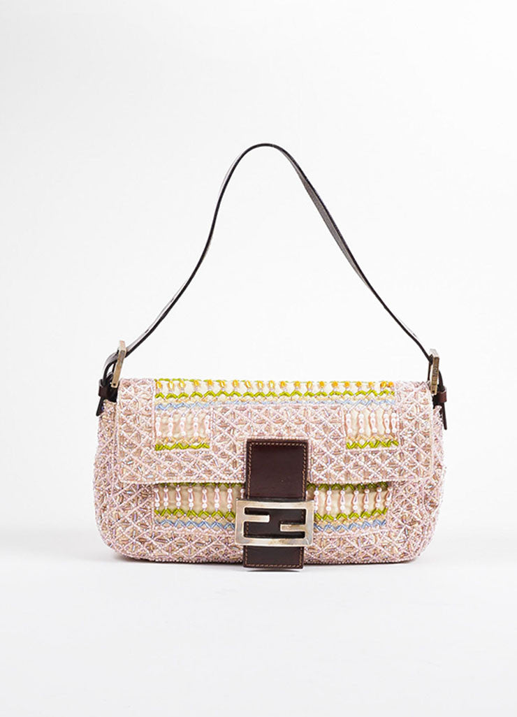 "Tan Canvas Pink Pastel Bead Embellished Top Flap Fendi ""Baguette"" Shoulder Bag Frontview"
