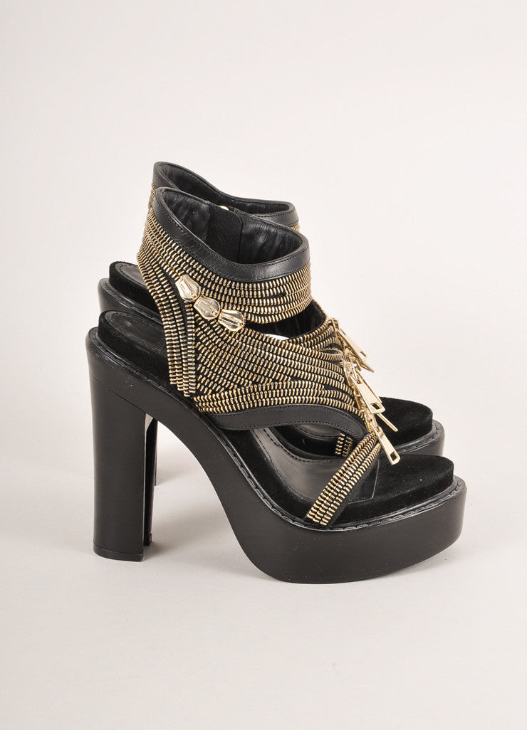 Givenchy Black Zippered Chunky Platform Heel Leather Sandals Sideview