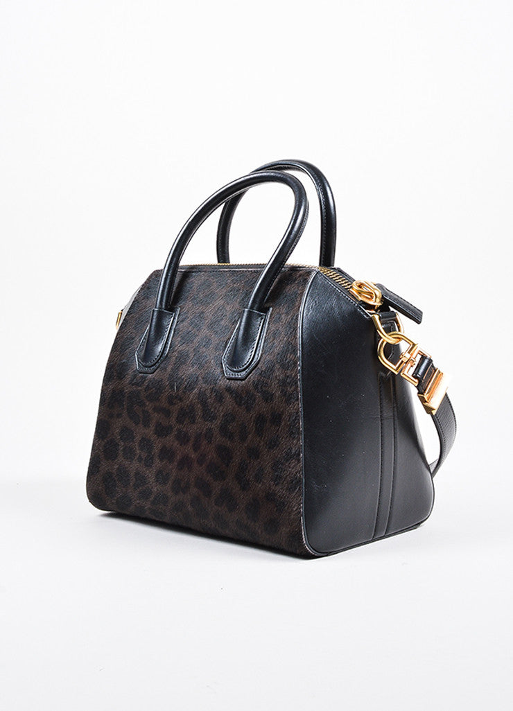 "Givenchy Brown and Black Calf Hair Leather Leopard Print ""Antigona"" Satchel Bag Sideview"