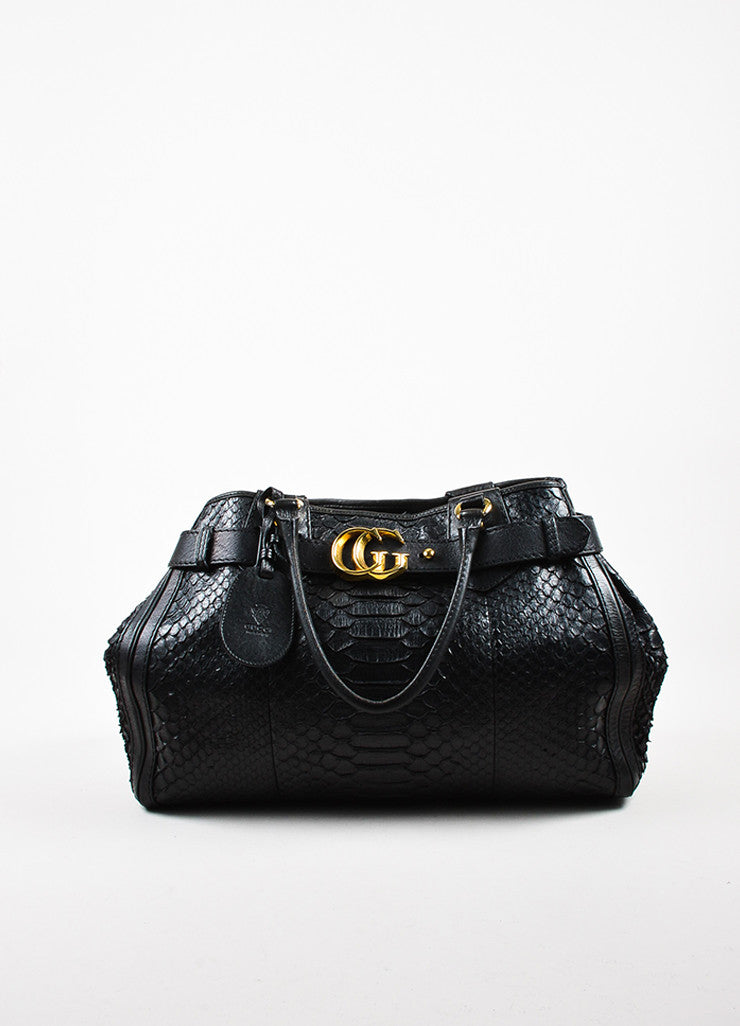 "Gucci Black Python Skin Gold Toned Hardware ""Large GG Running Tote"" Bag Frontview"