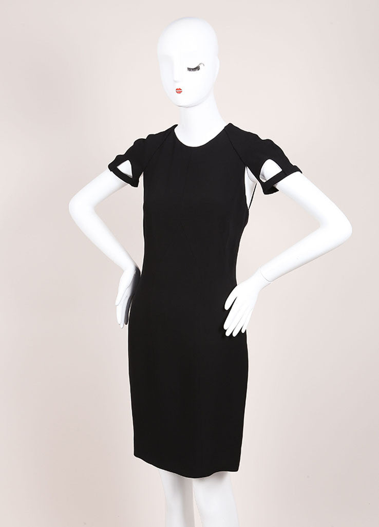Gucci Black Silk Knit Cut Out Detail Short Sleeve Sheath Dress Sideview