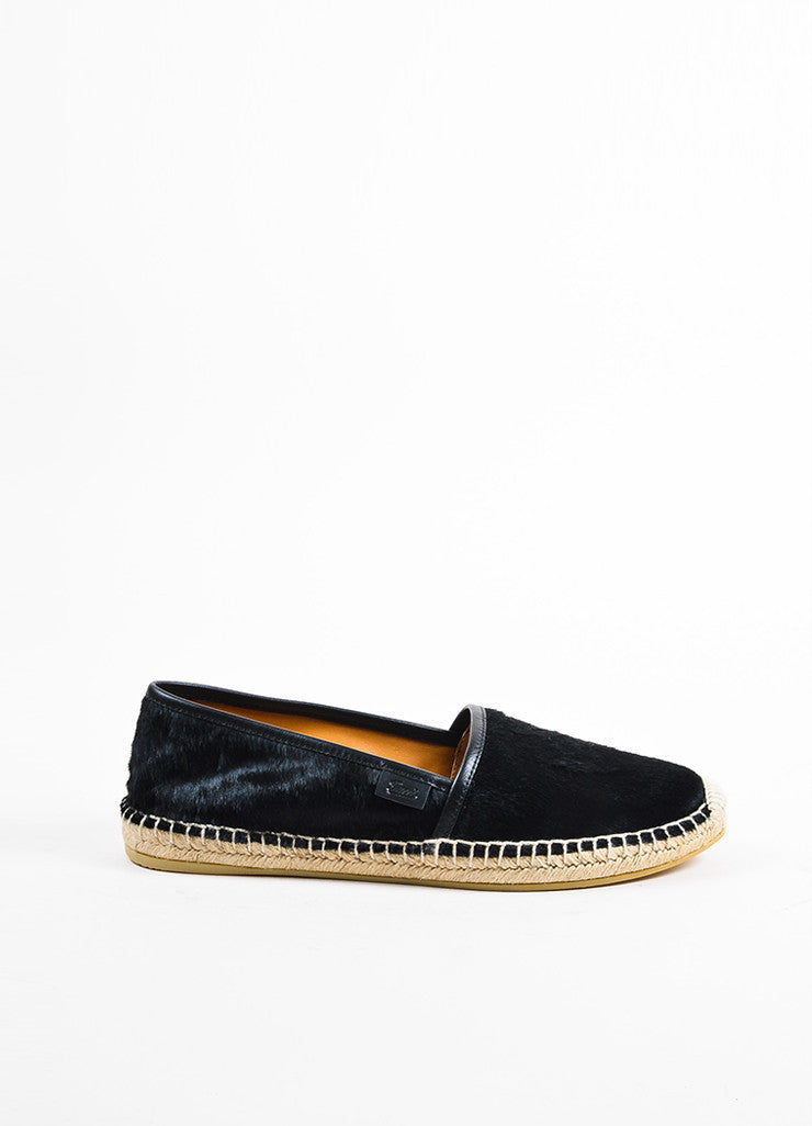 Black Gucci Ponyhair Espadrille Loafers Side
