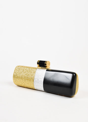 Halston Heritage Black, Gold, and Silver Lacquered Glitter Minaudiere Clutch Bag Sideview