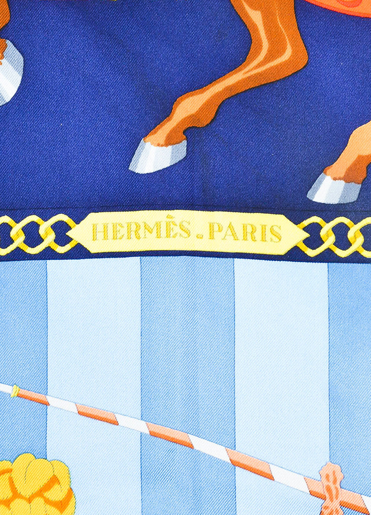"Hermes Blue and Multicolor Silk ""Chocs en Plumes"" Scarf Brand"