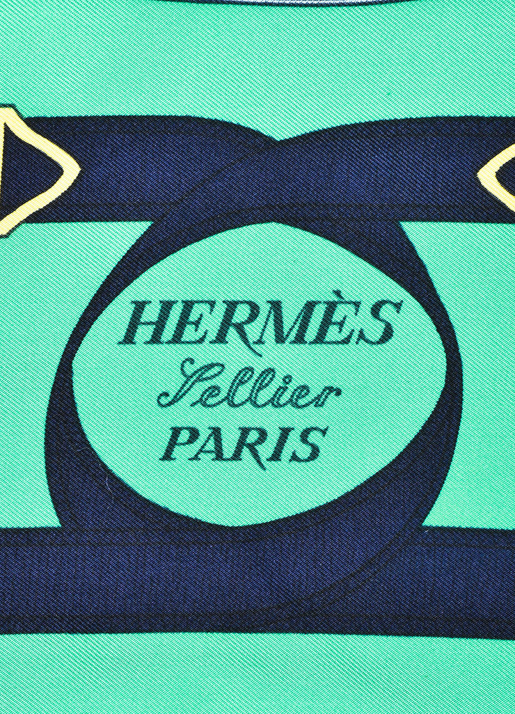 "Hermes Green, Navy, and Yellow Silk Equestrian Print ""Eperon D'Or"" Scarf Brand"