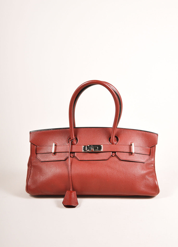 "Hermes Red ""Rouge H"" and Silver Toned Clemence Leather 42cm Shoulder Birkin Bag Frontview"