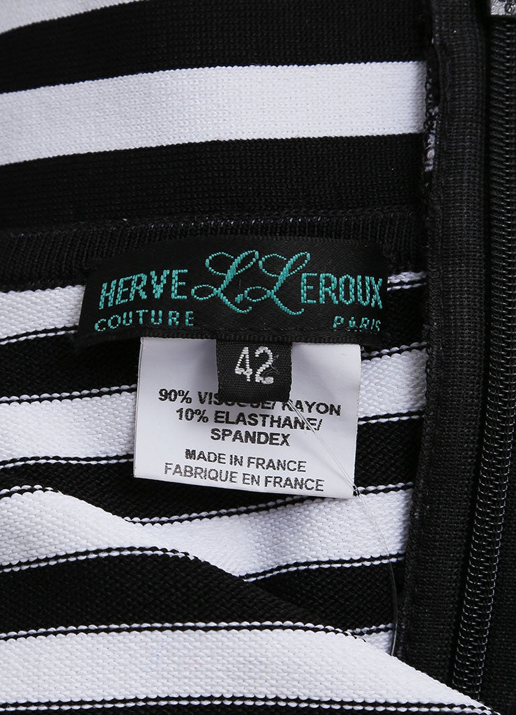 Herve Leroux New With Tags Black and White Striped Bodycon Halter Dress Brand