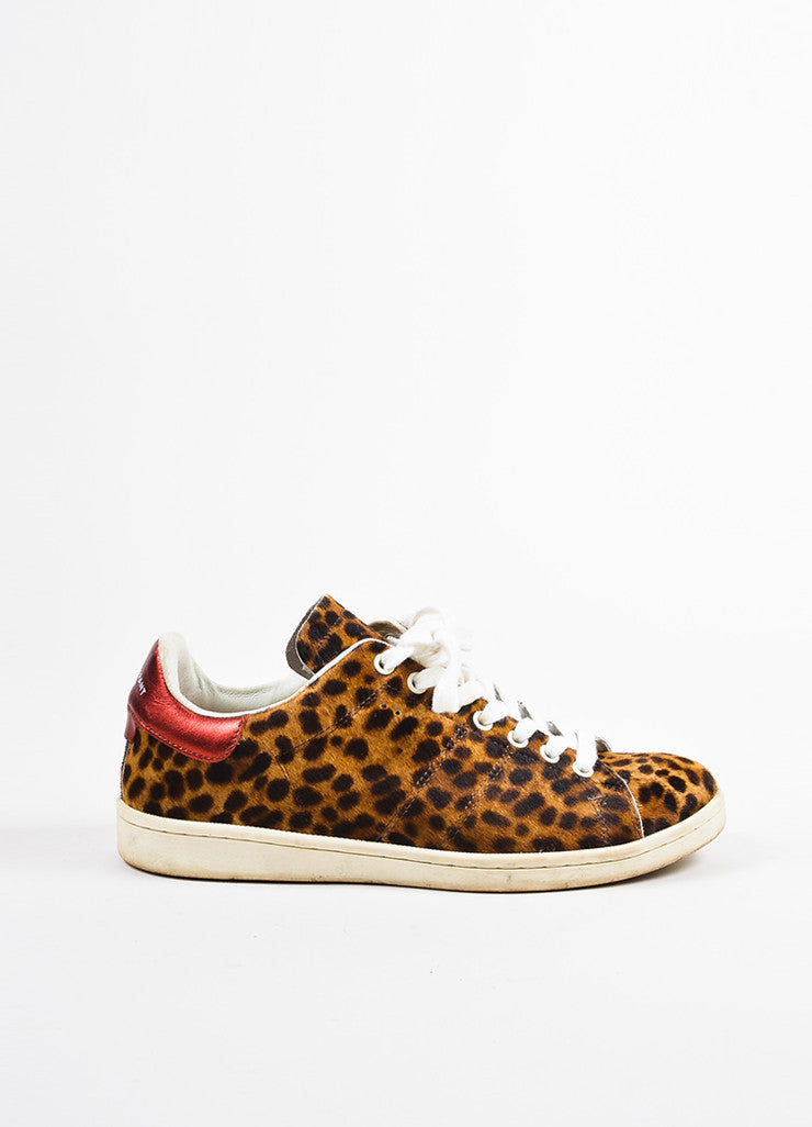 Brown and Tan Isabel Marant Etoile Leopard Print Pony Hair Sneakers Side