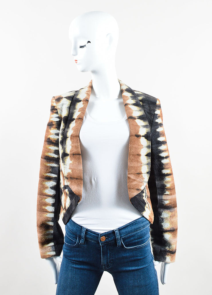 Kelly Wearstler Brown, Cream, and Black Suede Leather Tie Dye Jacket Frontview