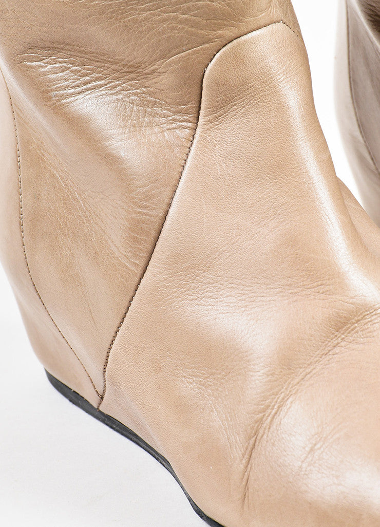 Lanvin Taupe Leather Covered Wedge Heel Knee High Boots Detail