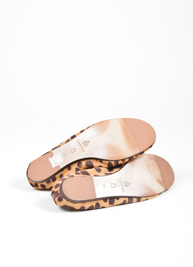 Tan and Brown Lanvin Pony Hair Leopard Round Toe Ballerina Flats Outsoles