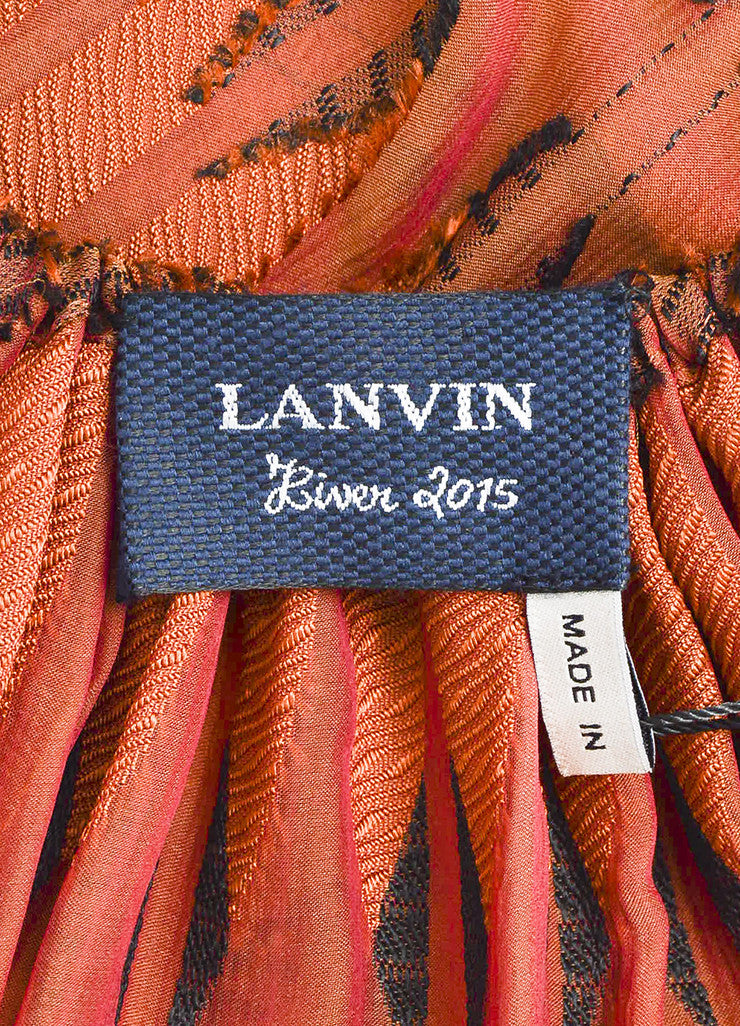Rust Red and Black Lanvin Semi Sheer Textured Blouse Brand