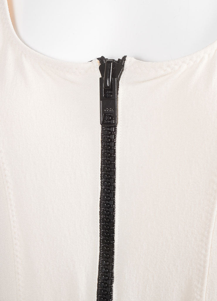 "Lisa Marie Ferndandez New With Tags Cream and Black Zip ""Jasmine"" Maillot Swimsuit Detail"