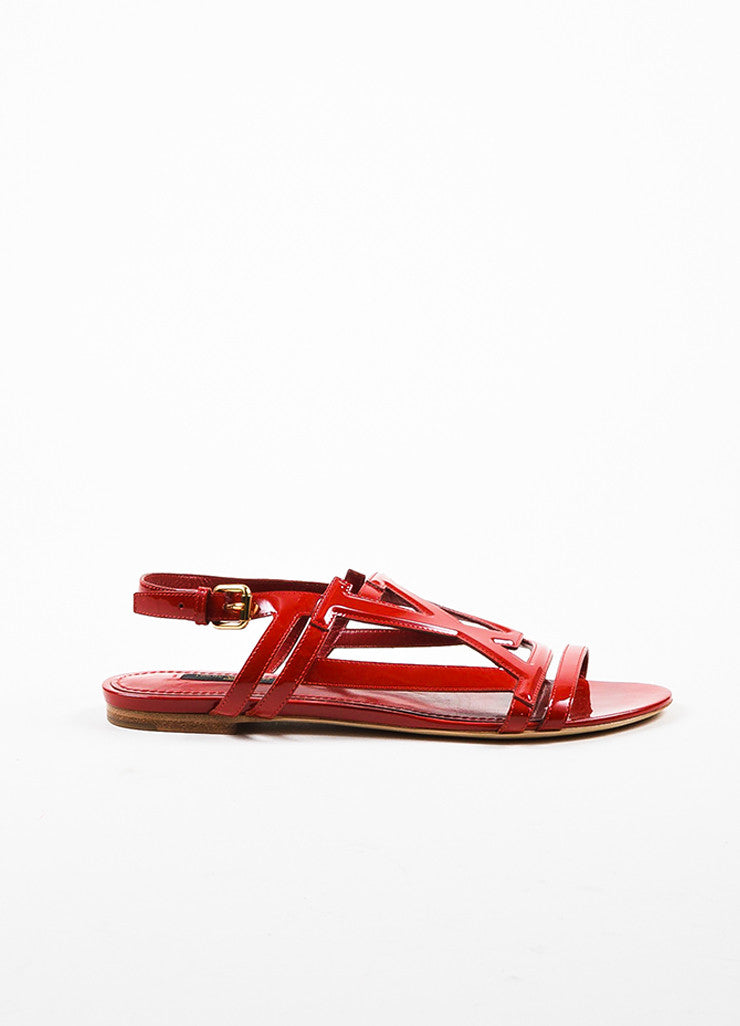 Louis Vuitton Red Patent Leather 'LV' Strappy Slingback Flat Sandals Sideview