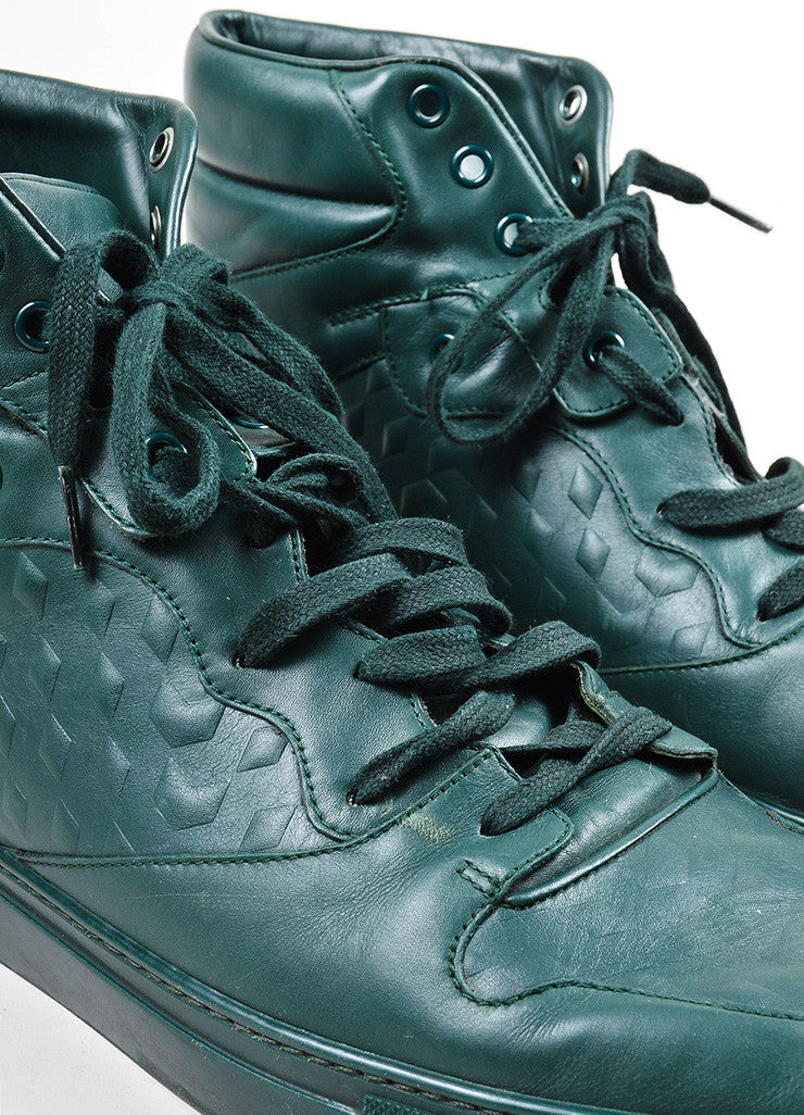 "Men's Balenciaga Green Leather ""Monochrome Debossed"" High Top Sneakers Detail"