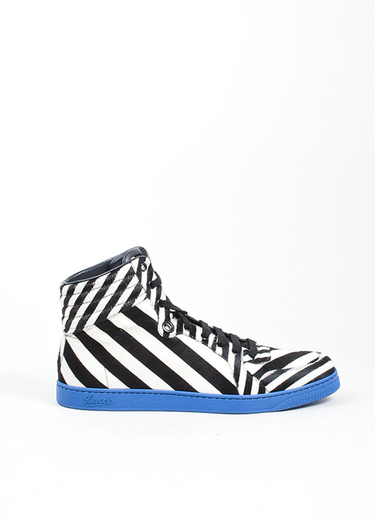 "MEN'S Gucci Blue Zebra Stripe Pony Hair ""Coda"" High Top Sneakers Side"