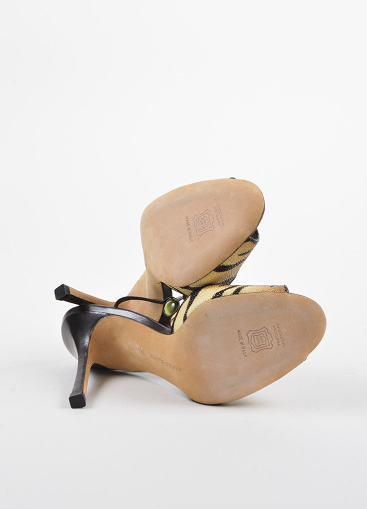 "Manolo Blahnik Tan and Brown Stingray Leather Tiger Print ""Kulupuri"" Heels Outsoles"