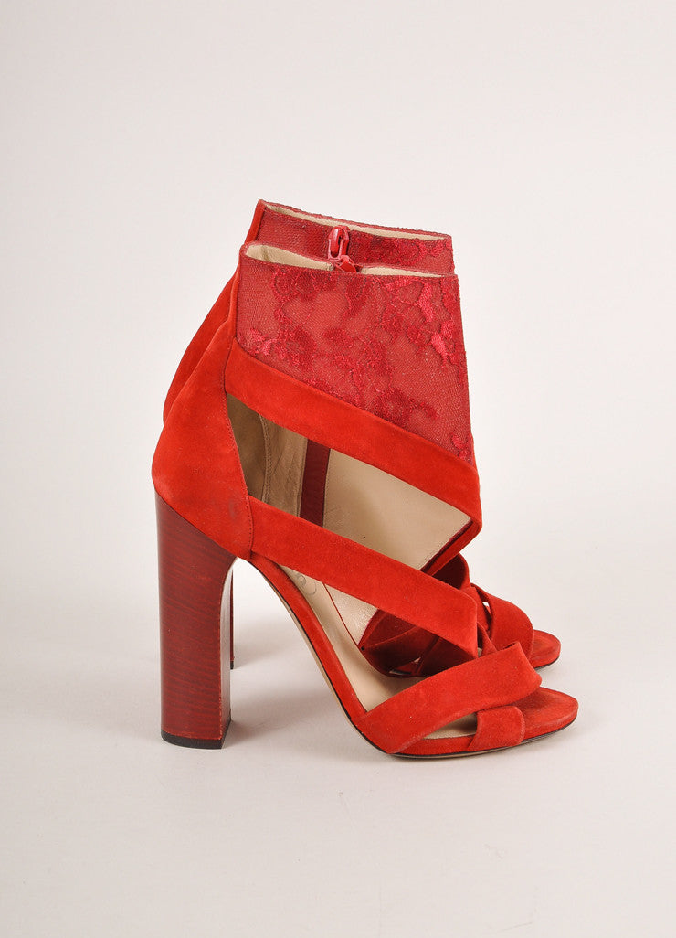 Nicholas Kirkwood for Erdem Red Suede and Lace Stacked Heel Sandals Sideview