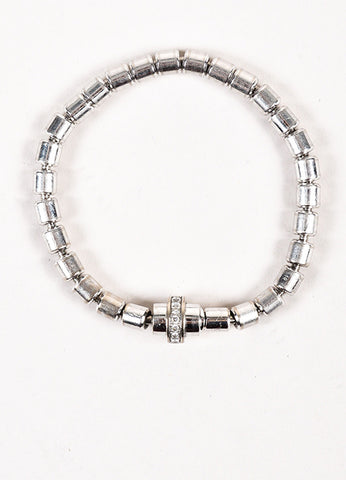 "Piaget 18K White Gold Diamond ""Possession"" Cylinder Link Bracelet Front"