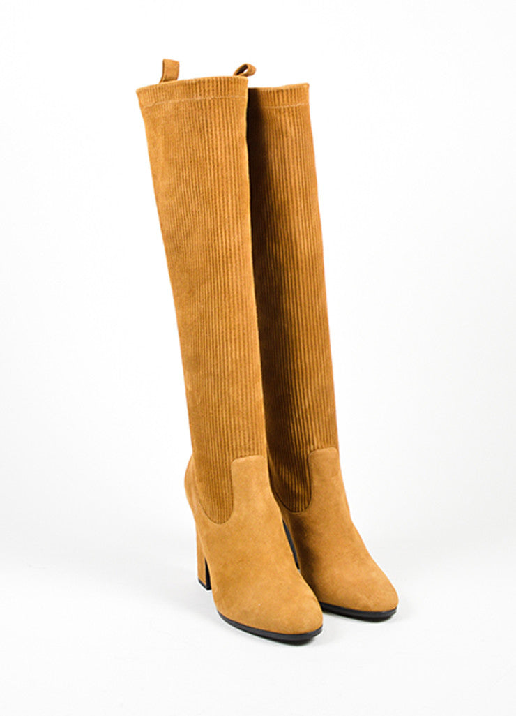 Tan	Pierre Hardy Suede Leather Ribbed Knee High Boots Frontview