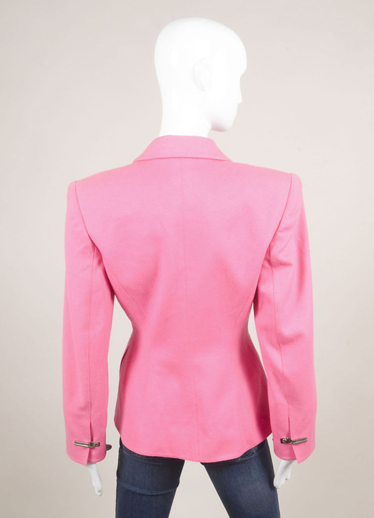Claude Montana Pink Wool Double Breasted Blazer Jacket Backview