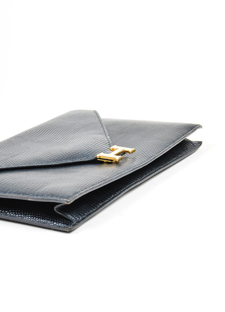 Black Hermes Lizard Leather 'H' Closure Envelope Clutch Top