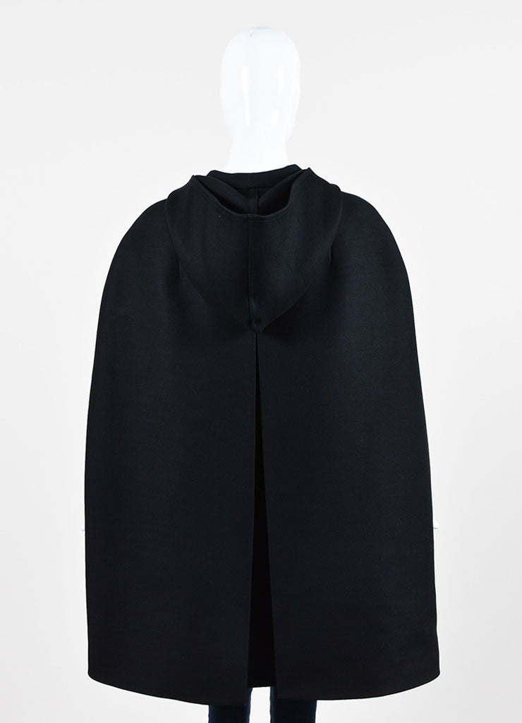 Valentino Black Wool and Silk Hooded Cape Backview