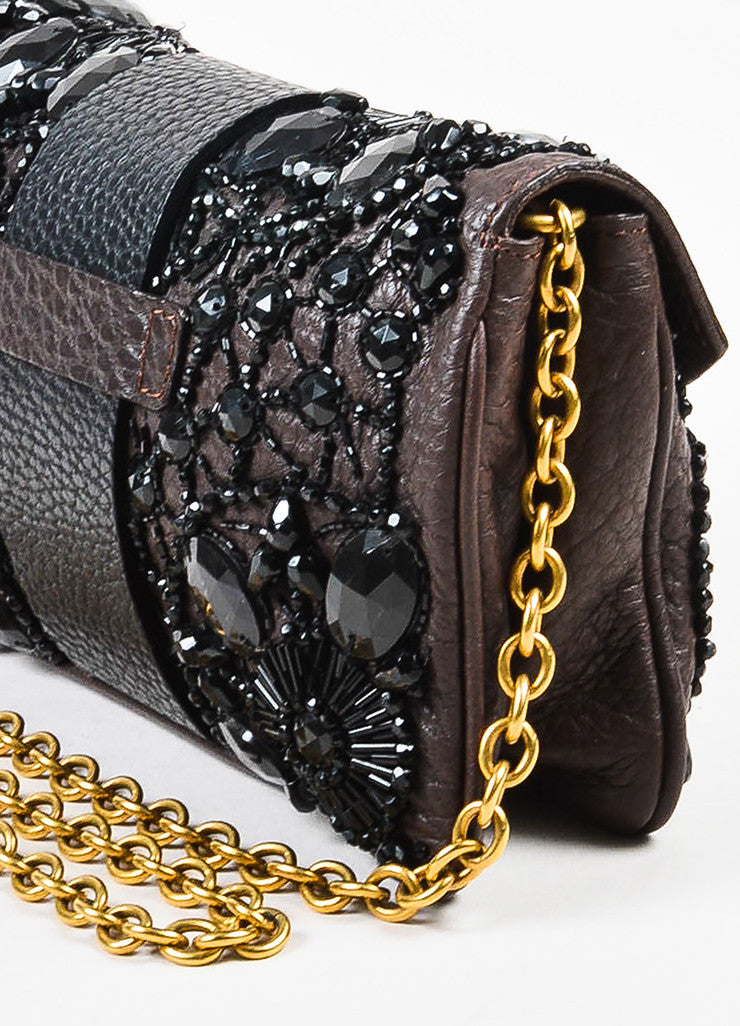 Valentino Brown and Black Leather Beaded Embellished Chain Strap Shoulder Flap Bag Detail 2