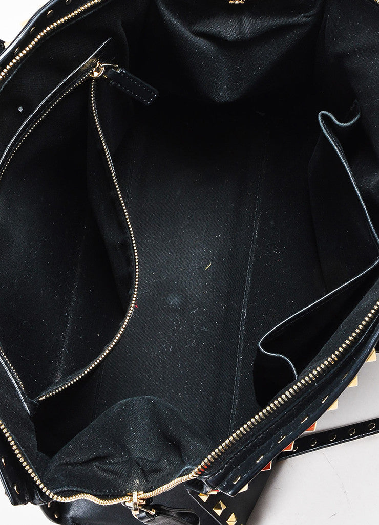 "Valentino Garavani Black and Gold Toned Leather Cross Body ""Rockstud"" Dome Satchel Bag Interior"