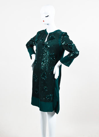 Green Silk Sequin and Rosette Embellished Long Sleeve Cocktail Dress Sideview