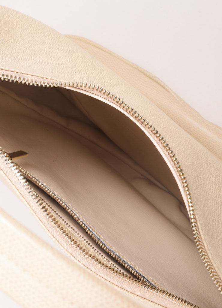Valextra Beige Grain Leather Hobo Shoulder Bag Topview