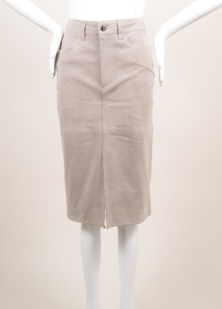 Victoria Beckham New With Tags Grey Suede Slit Pencil Skirt Frontview