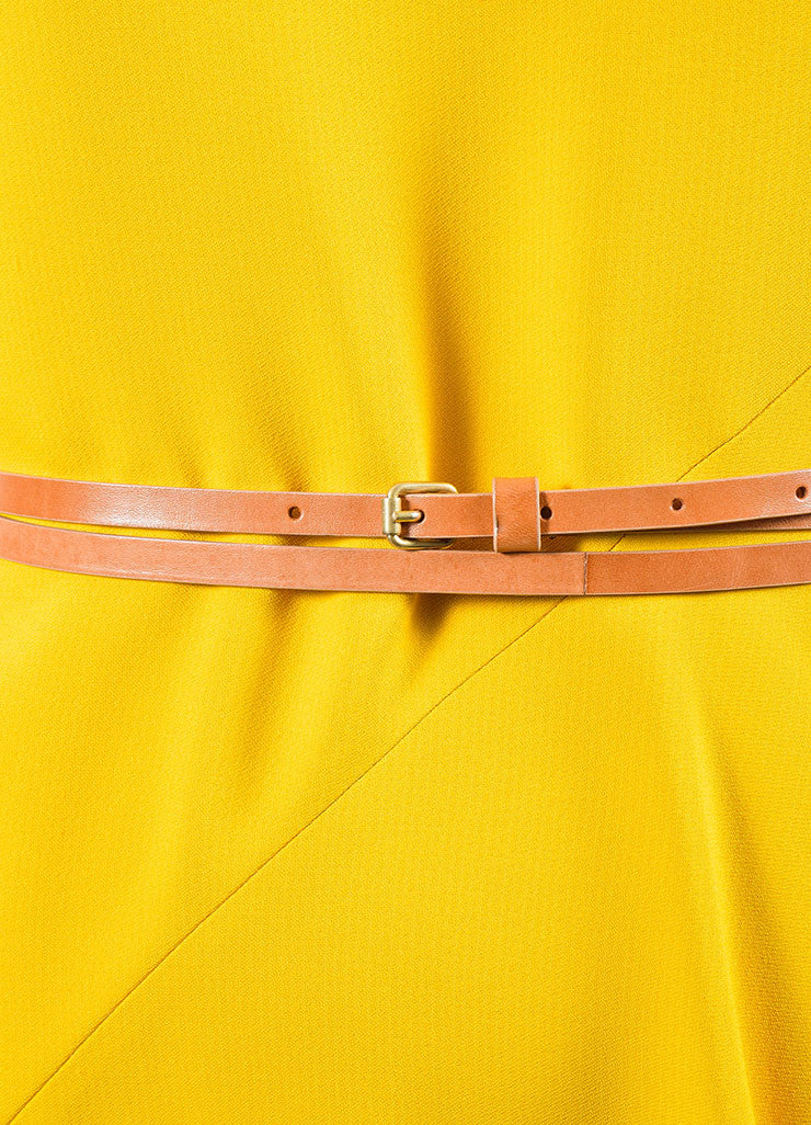 Canary Yellow Victoria Beckham Crepe Belted Sleeveless Swing Drape Dress Detail