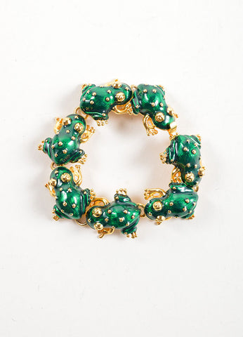 Kenneth Jay Lane Green and Gold Toned Enameled Frog Link Bracelet Frontview